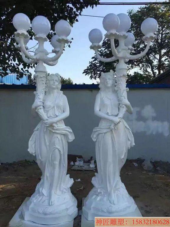 别墅举灯女雕塑