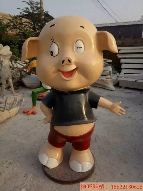玻璃钢卡通小猪 小猪雕塑