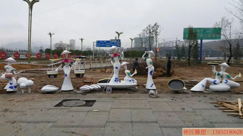 不锈钢抽象雕塑 广场民族文化雕塑